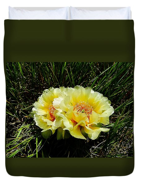 Plains Prickly Pear Cactus Duvet Cover
