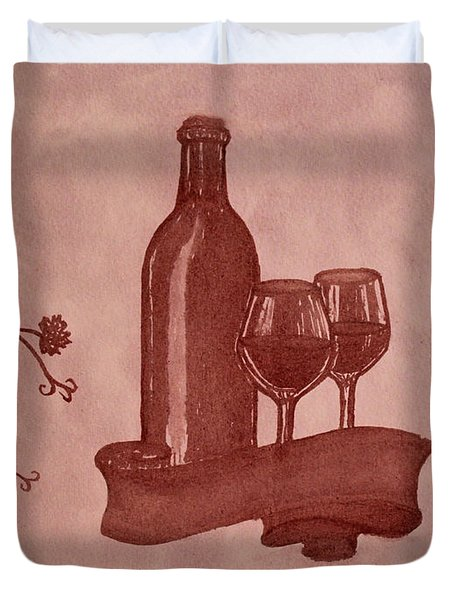 Enjoying Red Wine  Painting With Red Wine Duvet Cover by Georgeta  Blanaru