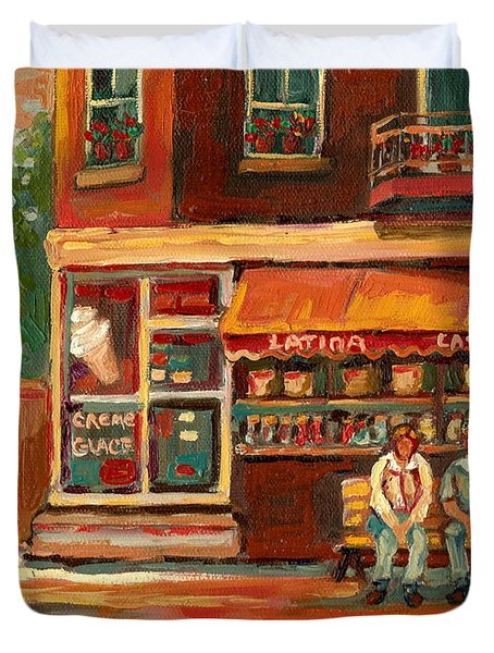 Epicerie Latina Montreal Duvet Cover by Carole Spandau
