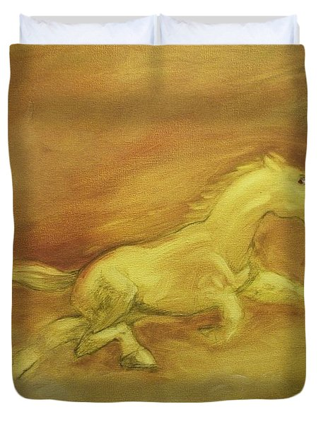 Duvet Cover featuring the painting Escaping The Flames by George Pedro