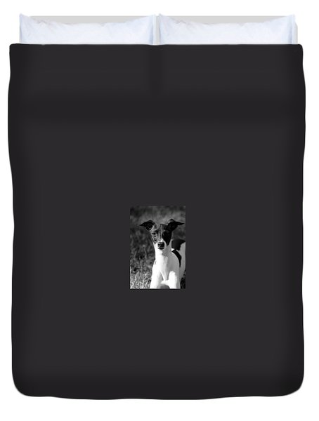 Ethan In Black And White Duvet Cover