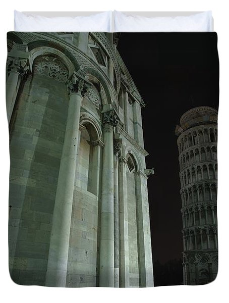Ethereal Moonlight Scene Of Duomo Santa Duvet Cover by Carson Ganci