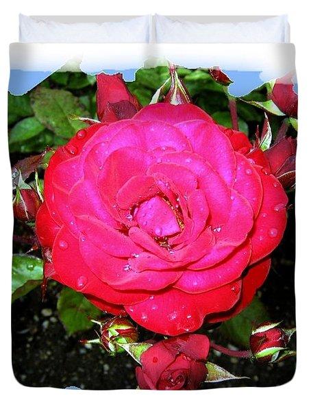 Europeana Roses And Raindrops Duvet Cover by Will Borden