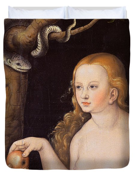 Eve Offering The Apple To Adam In The Garden Of Eden And The Serpent Duvet Cover by Cranach
