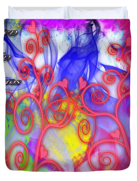 Duvet Cover featuring the digital art Even In Chaos Find Love by Clayton Bruster