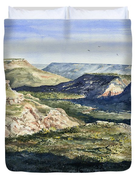Evening Flight Over Palo Duro Canyon Duvet Cover