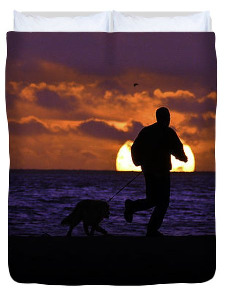 Duvet Cover featuring the photograph Evening Run On The Beach by Clayton Bruster