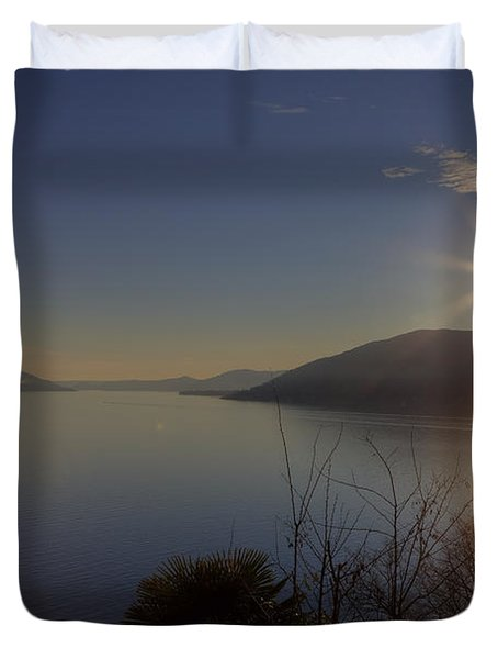 evening sun over the Lake Maggiore Duvet Cover by Joana Kruse