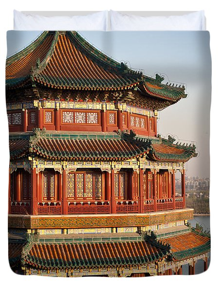 Evening Temple Of The Fragrant Buddha Duvet Cover