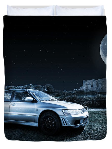 Duvet Cover featuring the photograph Evo 7 At Night by Steve Purnell