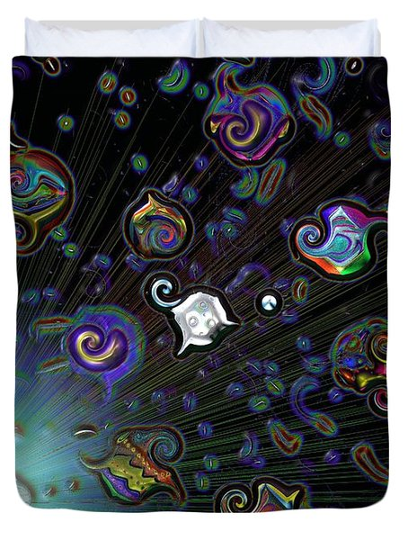 Duvet Cover featuring the digital art Exploding Star by Alec Drake