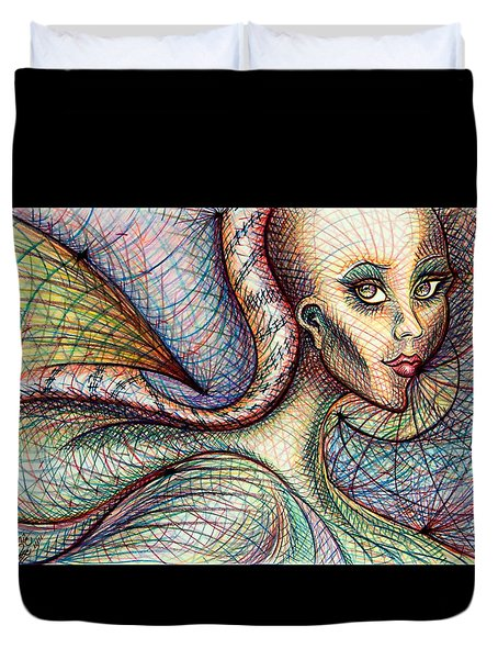 Duvet Cover featuring the drawing Exposed by Danielle R T Haney
