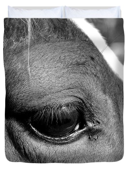 Eye Of The Horse Black And White Duvet Cover by Sandi OReilly