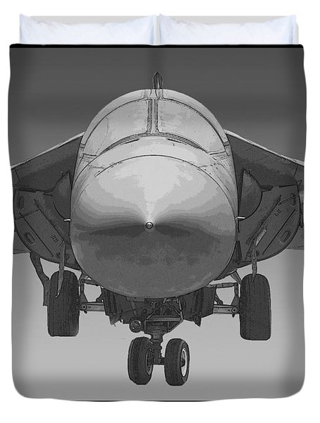 F-111e Aardvark Drawing Duvet Cover by Tim Mulina