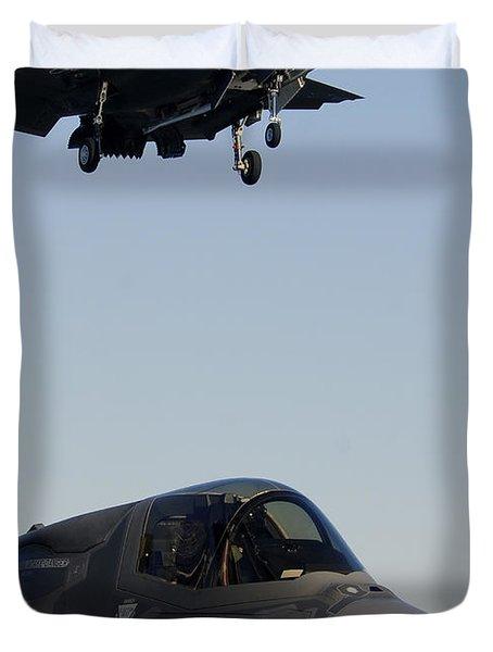 F-35b Lighnting II Variants Land Aboard Duvet Cover by Stocktrek Images