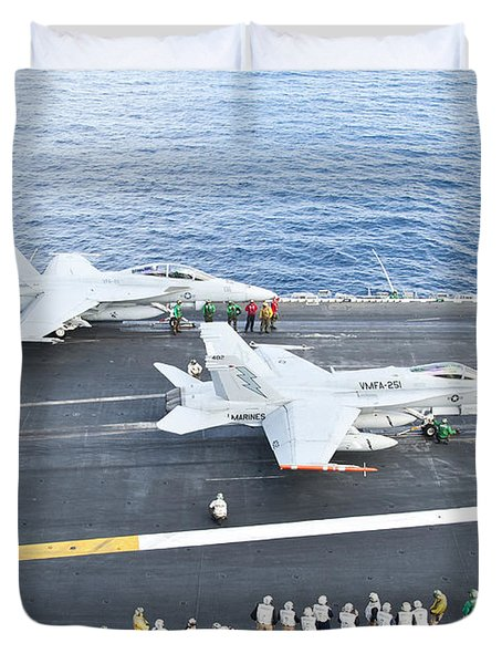 Fa-18 Aircraft Prepare To Take Duvet Cover by Stocktrek Images