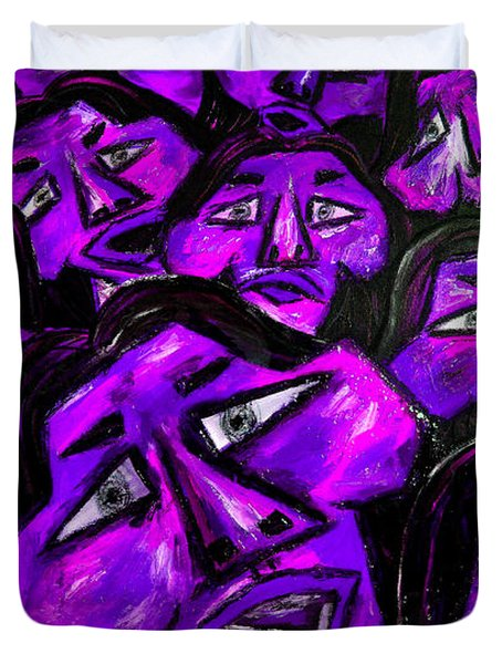 Faces - Purple Duvet Cover by Karen Elzinga