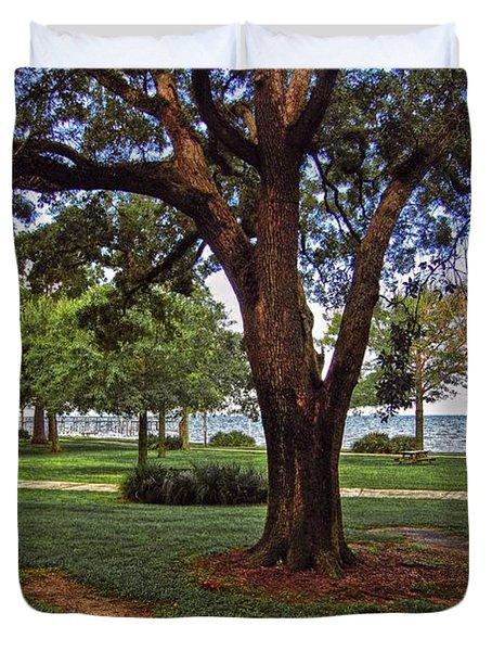 Fairhope Lower Park 2 Trees Duvet Cover by Michael Thomas