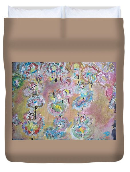 Duvet Cover featuring the painting Fairy Can Can Encore by Judith Desrosiers