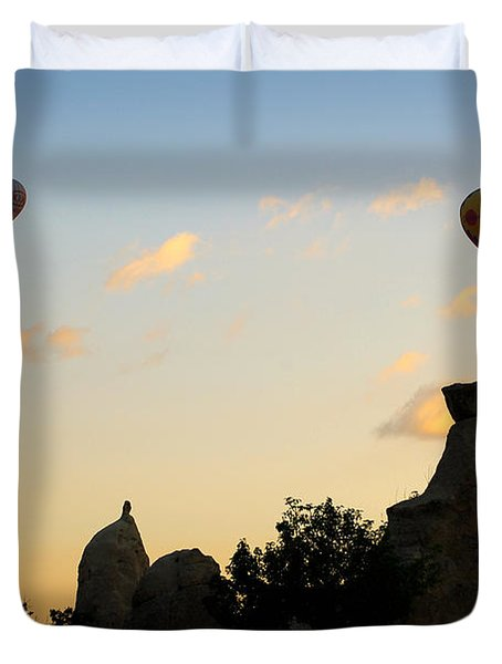 Fairy Chimneys And Balloons Duvet Cover by RicardMN Photography
