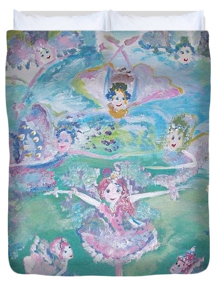 Duvet Cover featuring the painting Fairy Sky Dive For Charity by Judith Desrosiers