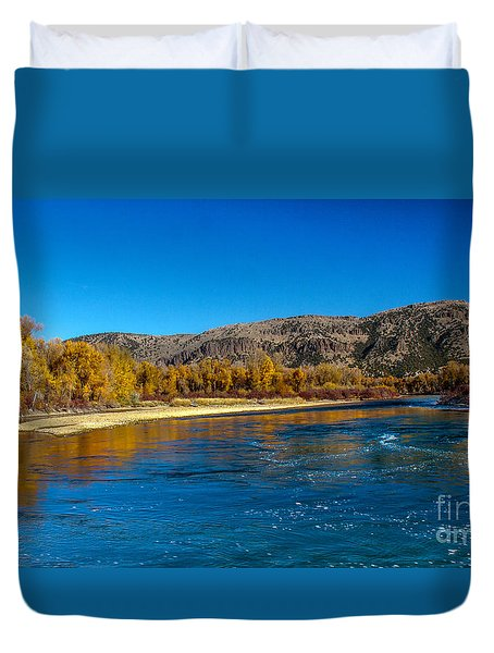 Fall Colors On The Snake River Duvet Cover by Robert Bales