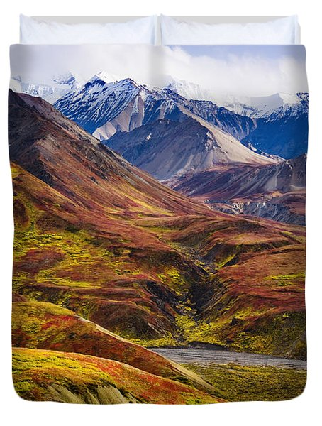 Fall Colours And Alaska Range, Denali Duvet Cover by Yves Marcoux