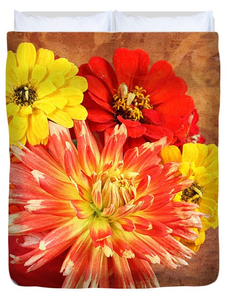 Duvet Cover featuring the photograph Fall Flower Arrangement by Verena Matthew