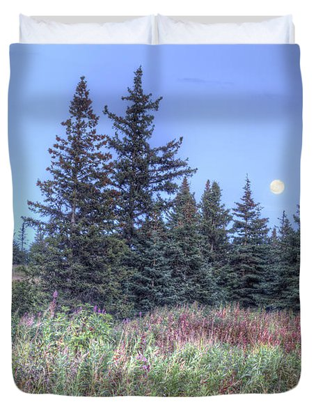 Duvet Cover featuring the photograph Fall Moon by Michele Cornelius
