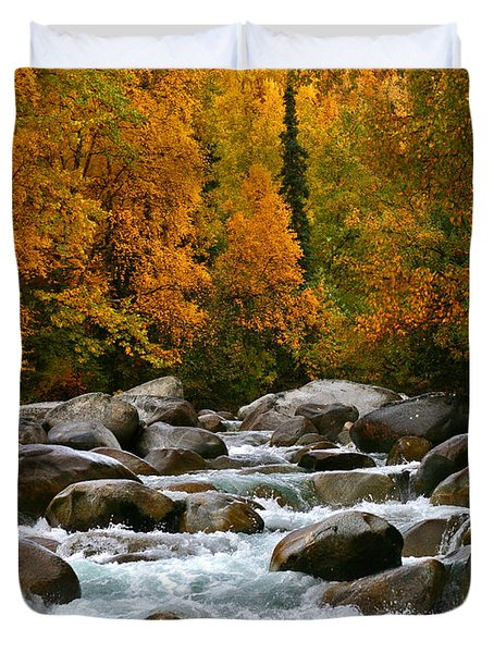 Fall On The Little Susitna River Duvet Cover