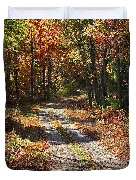 Fall On The Wyrick Trail Duvet Cover by Denise Romano