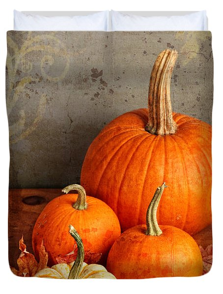Duvet Cover featuring the photograph Fall Pumpkin And Decorative Squash by Verena Matthew
