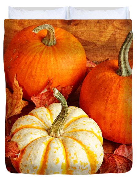 Duvet Cover featuring the photograph Fall Pumpkins And Decorative Squash by Verena Matthew