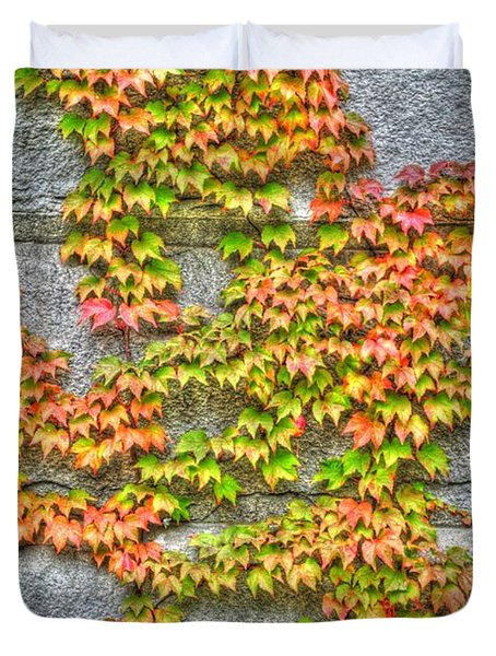 Duvet Cover featuring the photograph Fall Wall by Michael Frank Jr