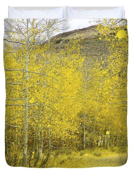 Falling Aspen Leaves Duvet Cover