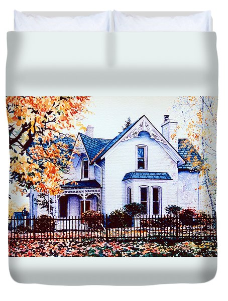 Duvet Cover featuring the painting Family Home Portrait by Hanne Lore Koehler