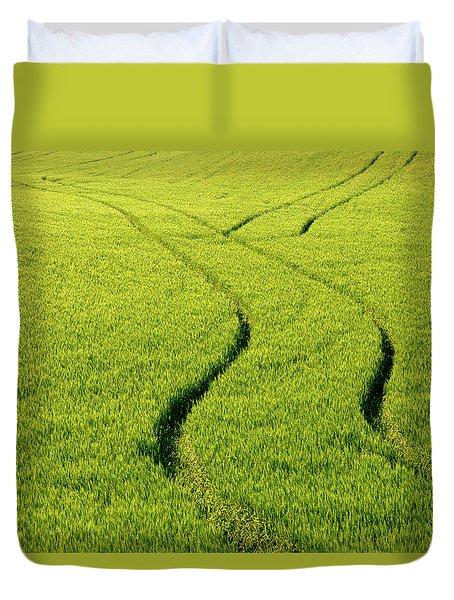 Farm Tracks Duvet Cover by Mike  Dawson