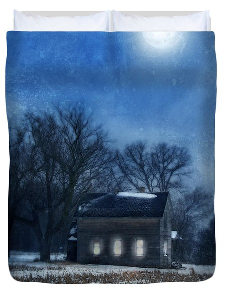 Farmhouse Under Full Moon In Winter Duvet Cover by Jill Battaglia