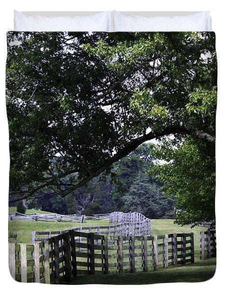 Farmland Shade Appomattox Virginia Duvet Cover by Teresa Mucha