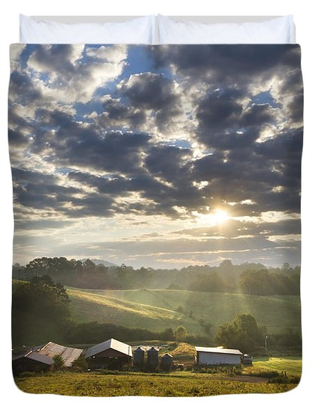 Farmlands Of Appalachia Duvet Cover by Debra and Dave Vanderlaan