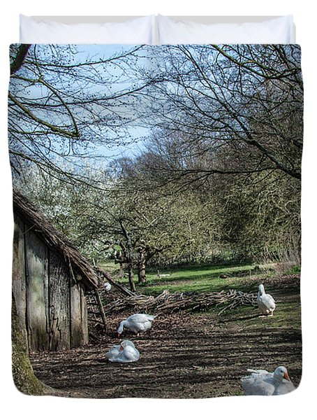 Farmyard Geese Duvet Cover by Dawn OConnor