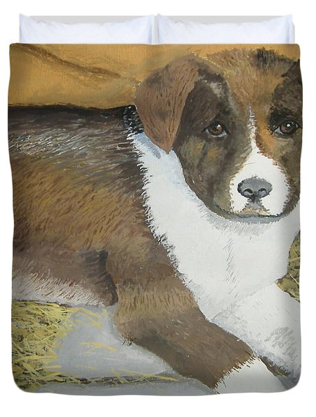 Duvet Cover featuring the painting Fat Puppy by Norm Starks