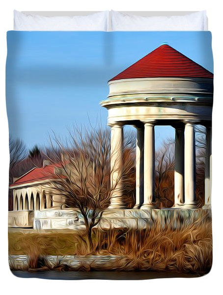 Fdr Park Gazebo And Boathouse Duvet Cover by Bill Cannon