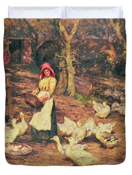 Feeding The Ducks Duvet Cover by Joseph Harold Swanwick