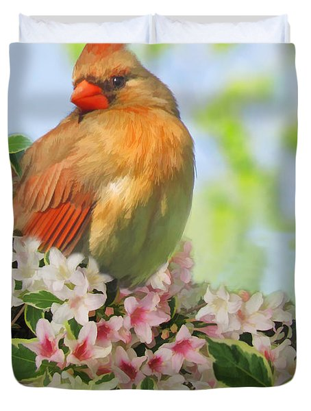 Duvet Cover featuring the photograph Female Cardnial In Wegia Digital Art by Debbie Portwood