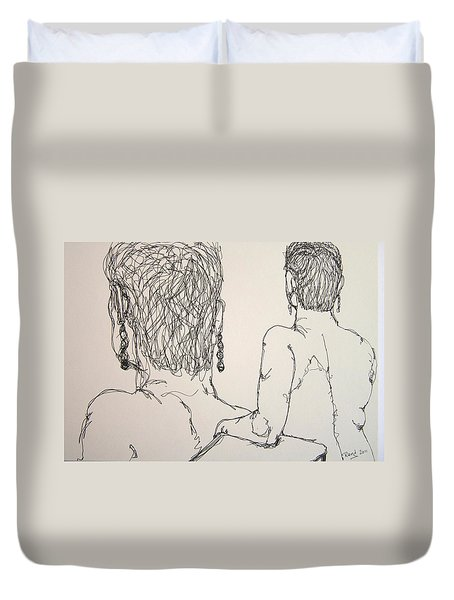 Female Nude Beside Herself Duvet Cover by Rand Swift