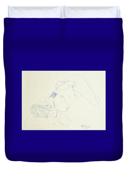 Female Nude In Blue Duvet Cover by Rand Swift