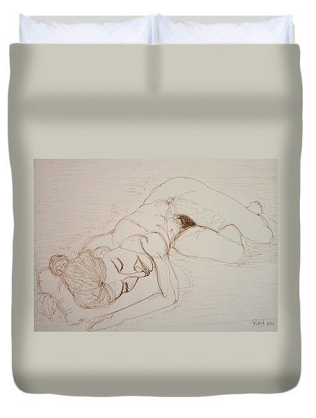 Female Nude Lying Duvet Cover by Rand Swift