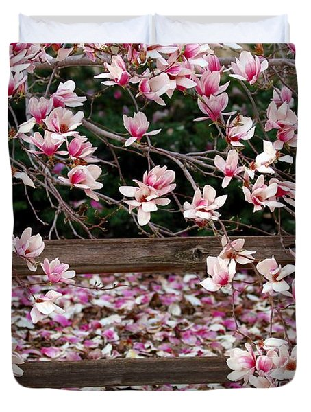 Duvet Cover featuring the photograph Fence Of Flowers by Elizabeth Winter