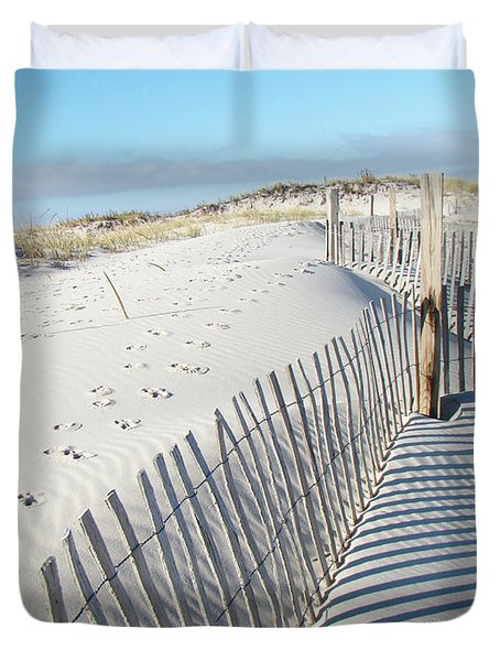 Fences Shadows And Sand Dunes Duvet Cover by Mother Nature